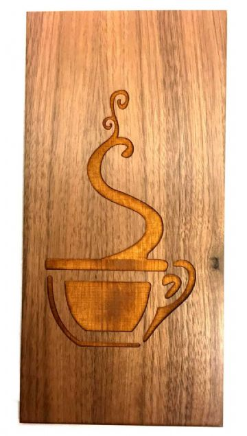 Morning Coffee - Engraved Wooden Walnut Wall Plaque